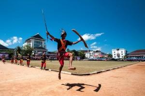 Krijgsdans tijdens Duurstede Festival